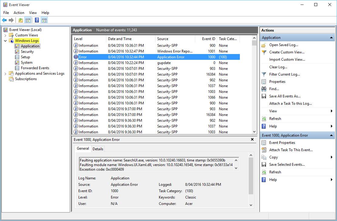Event Viewer -Windows Logs