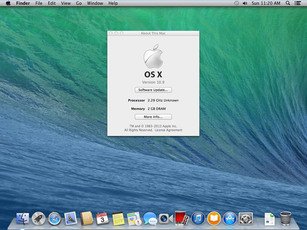 Mac OS X Mavericks Installed