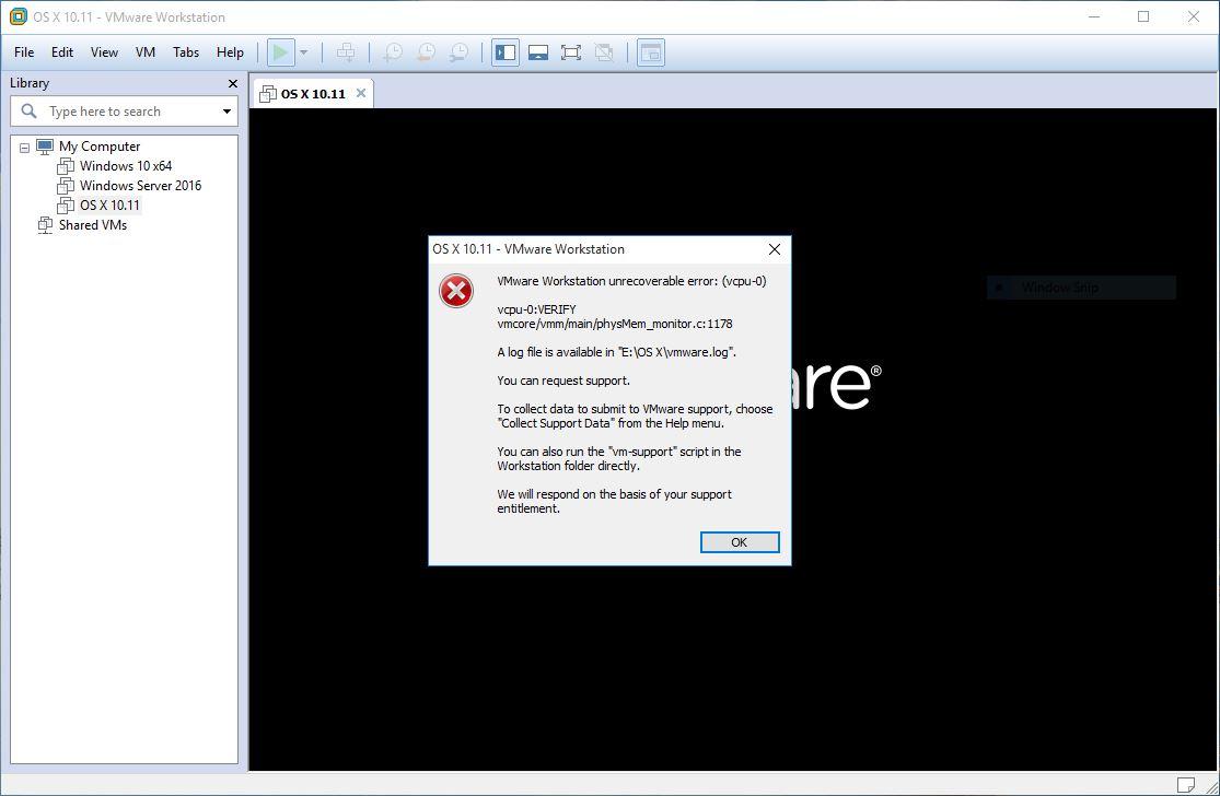 VMware unrecoverable Error