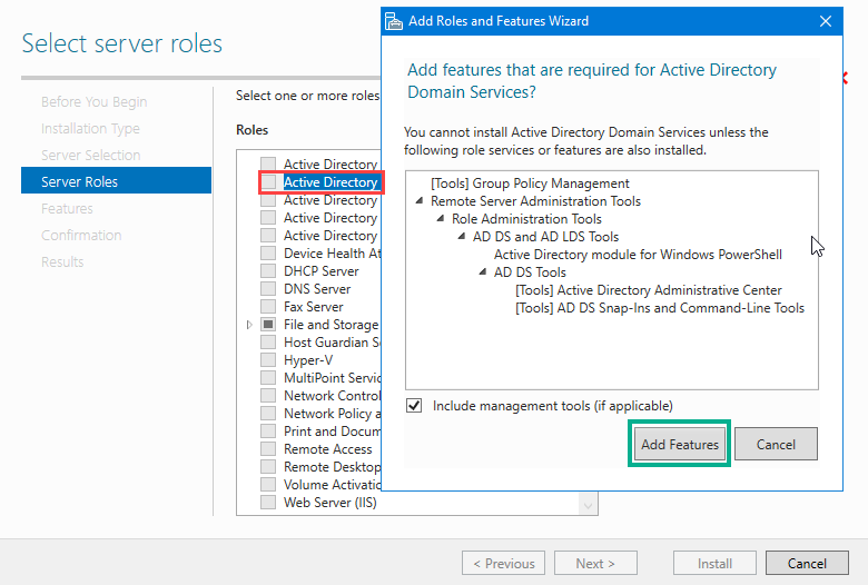 Active Directory Domain Services role