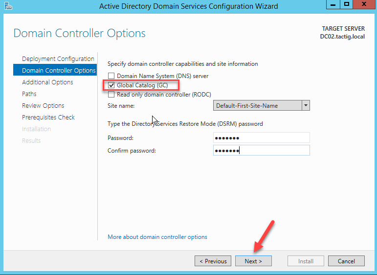 Domain Controller Optionsq