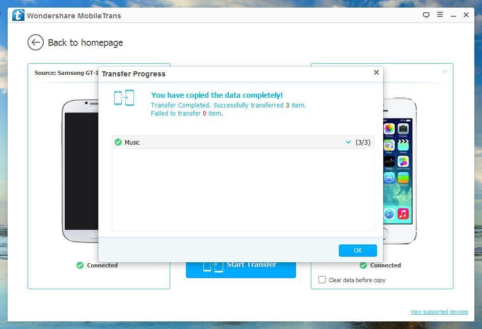 Wondershare MobileTrans - Data Transfered