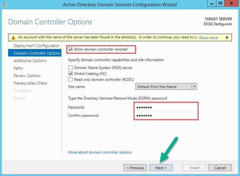 Allow domain controller reinstall