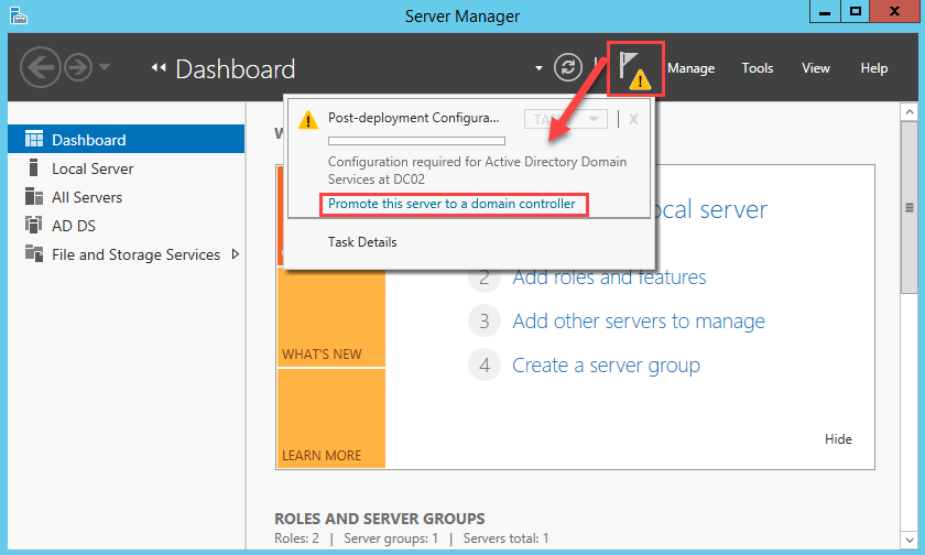 Promote this server to domain controller hyperlink