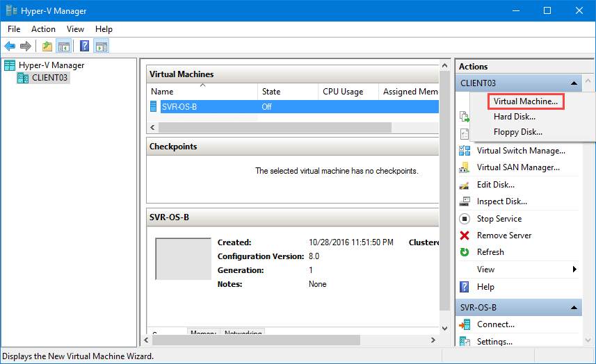how to create virtual machine in hyper v