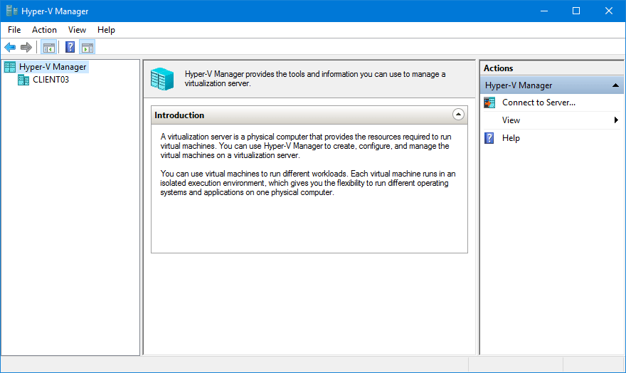 Hyper-v Manager window