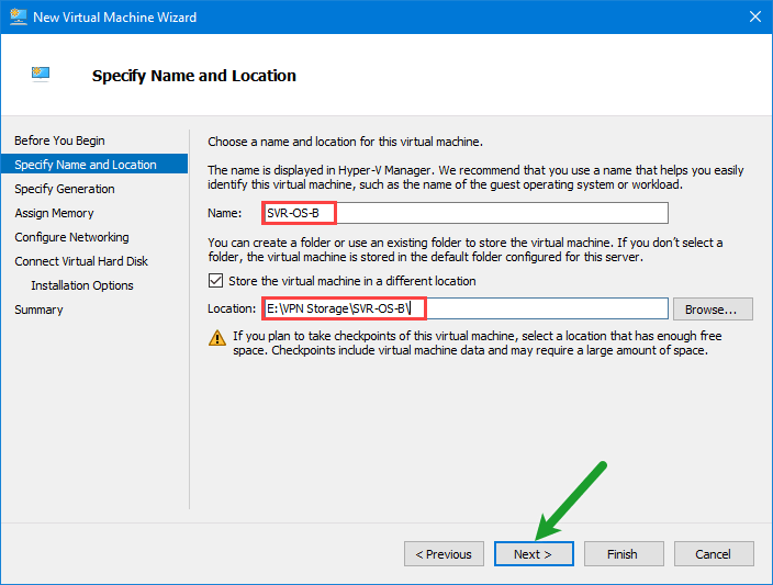 Install windows server 2016 on hyper v complete guide tactig for Window location assign