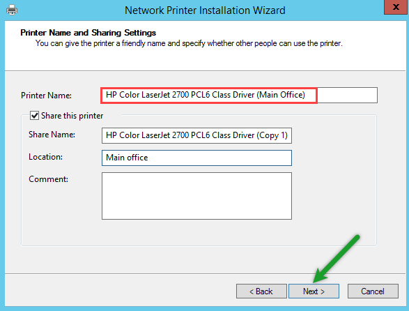 Printer Share Name and location