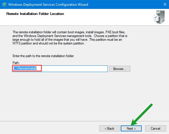 Remote Installation Folder Location