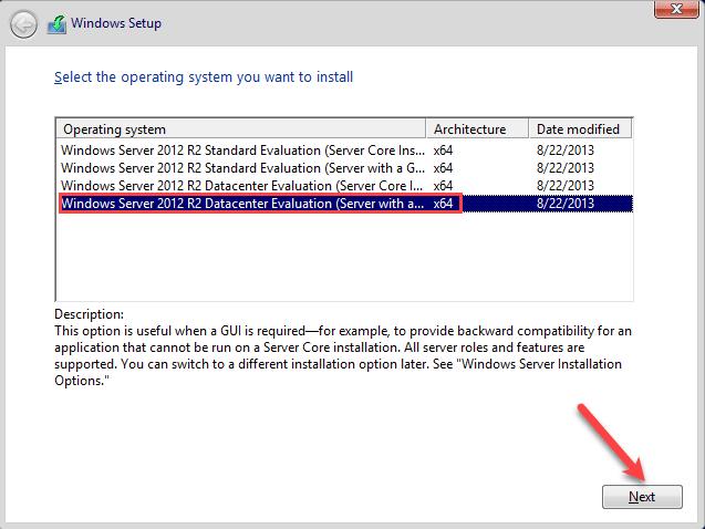 Specify Windows Server Edition