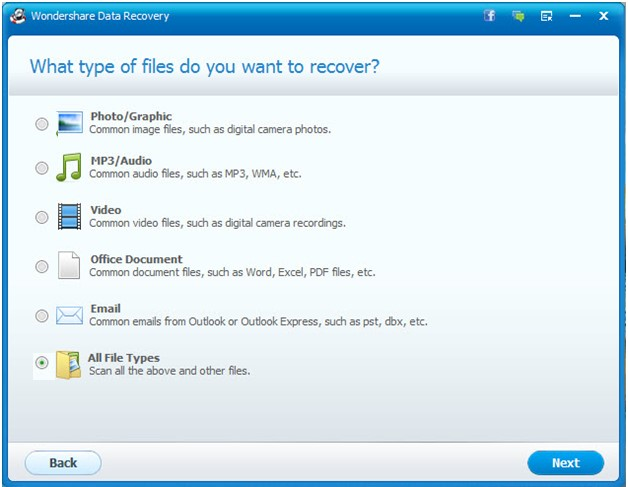 Select types of files You Want to Recover -Tactig